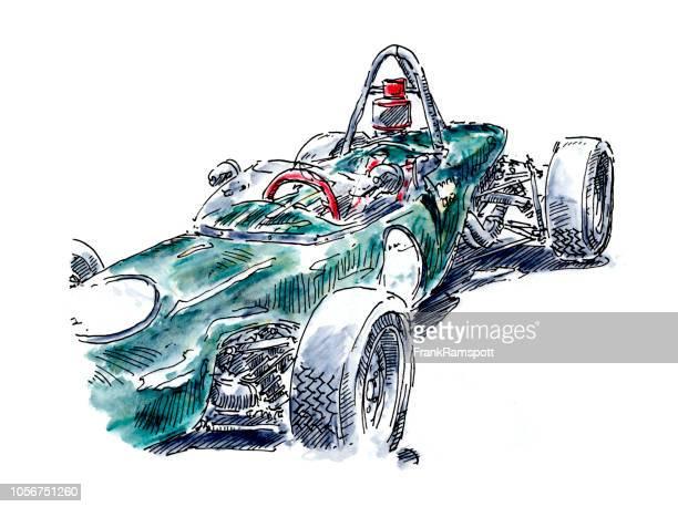 Grüne Open Wheel klassische Rennwagen Tusche Zeichnung und Aquarell