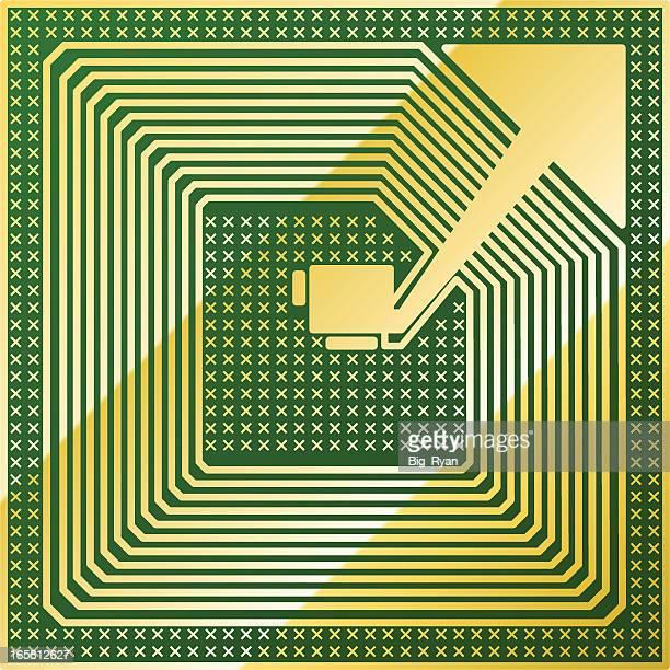 green rfid chip - rfid stock illustrations, clip art, cartoons, & icons