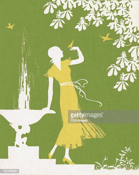 green silhouette of woman in garden - fountain stock illustrations, clip art, cartoons, & icons