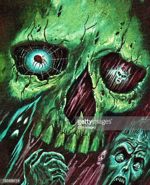 green skull with monsters and zombies - zombie stock illustrations, clip art, cartoons, & icons