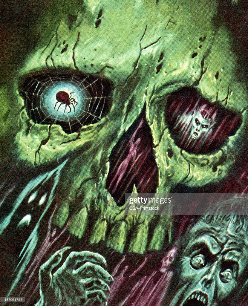 Green Skull With Monsters and Zombies : stock illustration