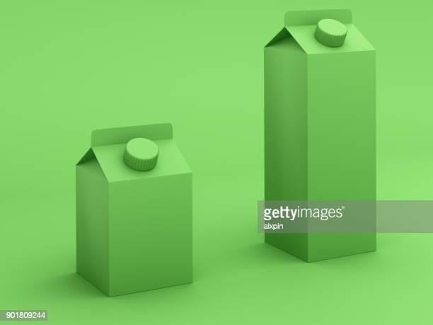 Groen getinte melk dozen