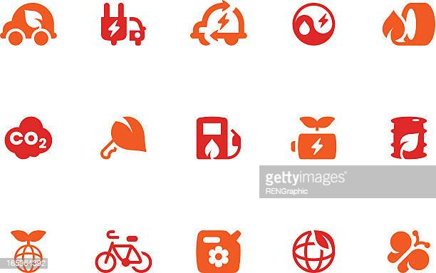 Green Transport & Environment Icon Set | Coral Series