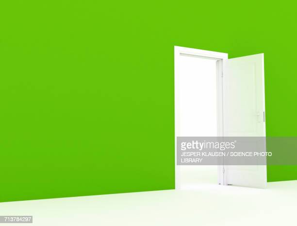Green wall with white open door