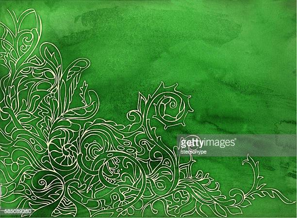 green watercolor tapestry
