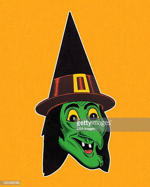 Green Witch Wearing Hat