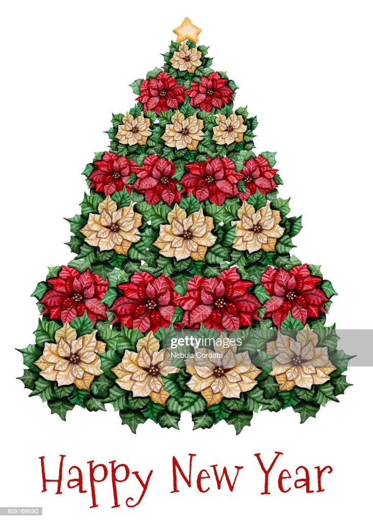 Grußkarte Mit Weihnachtsbaum Aquarell Weihnachtsstern Stock ...