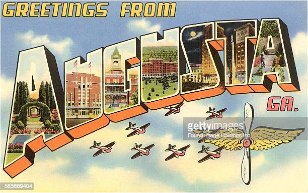 'Greetings from Augusta Georgia' large letter vintage postcard 1940s