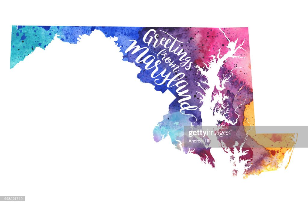 Greetings from Maryland Watercolor Map : stock illustration