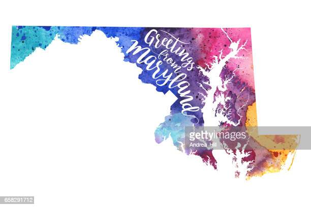 greetings from maryland watercolor map - maryland stock illustrations, clip art, cartoons, & icons