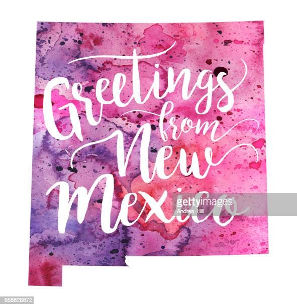 Greetings from New Mexico Watercolor Map