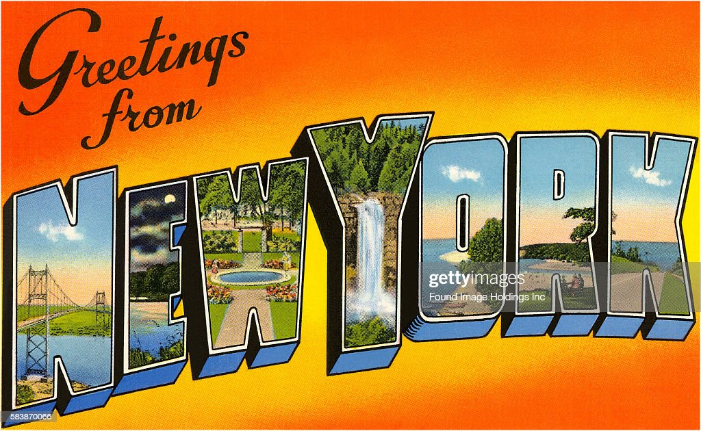 Greetings from New York' large letter vintage postcard, 1950s  News