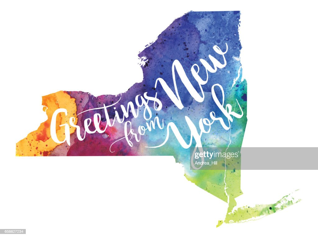 Greetings from new york watercolor map stock illustration getty images greetings from new york watercolor map stock illustration kristyandbryce Images