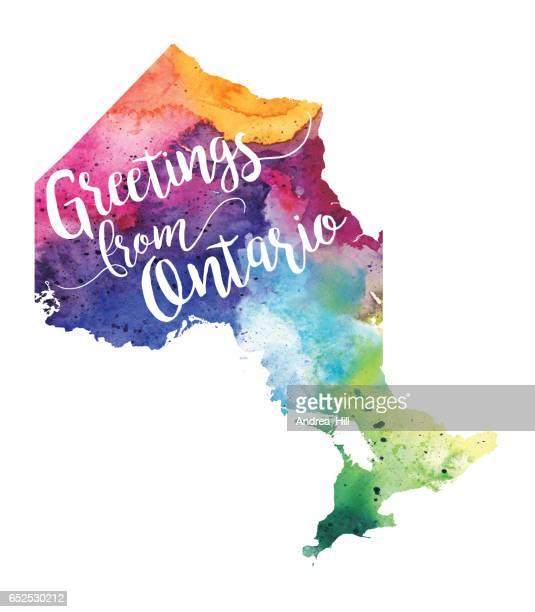 Greetings from Ontario Watercolor Map