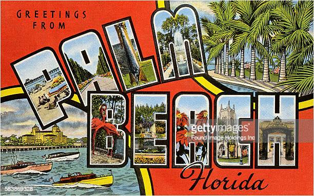 'Greetings from Palm Beach Florida' large letter vintage postcard 1950s