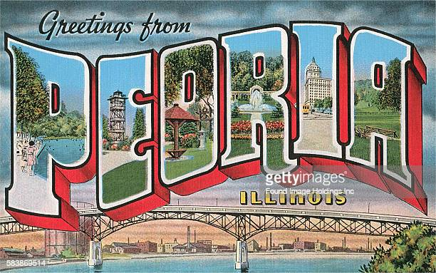 'Greetings from Peoria, Illinois' large letter vintage postcard, 1950s.