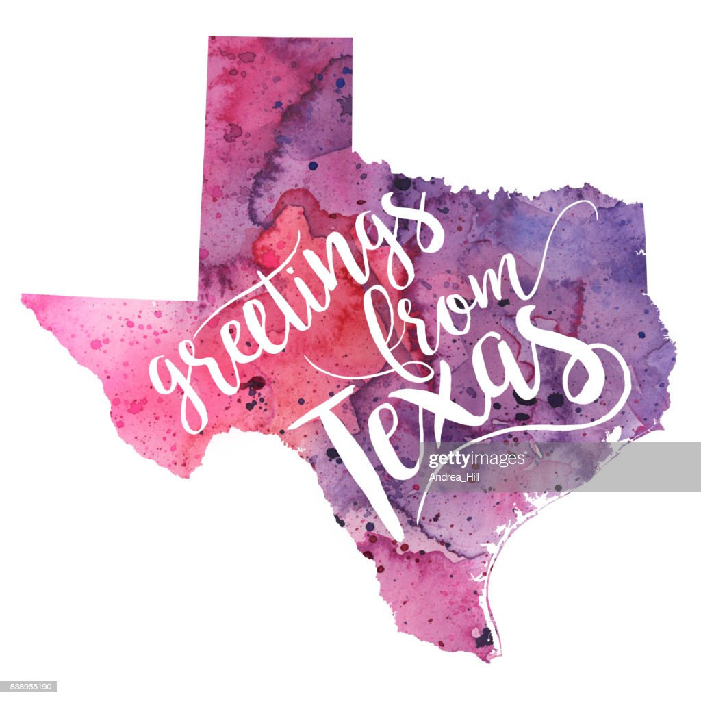 Greetings from texas watercolor map stock illustration getty images greetings from texas watercolor map stock illustration kristyandbryce Choice Image