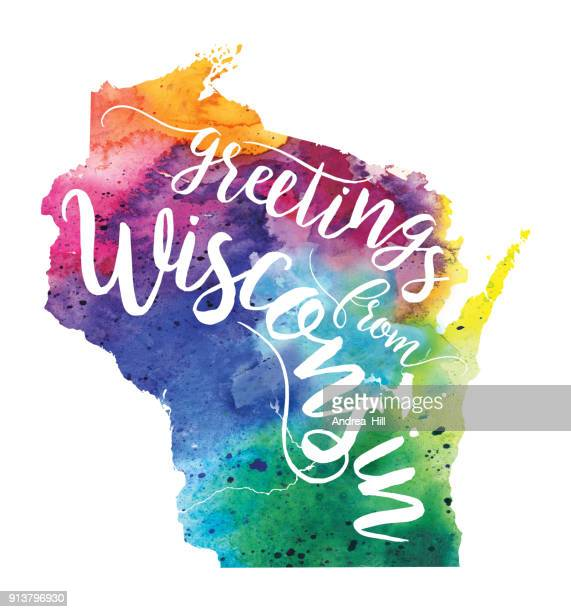 Greetings from Wisconsin Watercolor Map - Raster Illustration