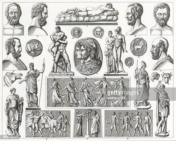 ilustraciones, imágenes clip art, dibujos animados e iconos de stock de grekk y romanos escultura de grabado - roman goddess