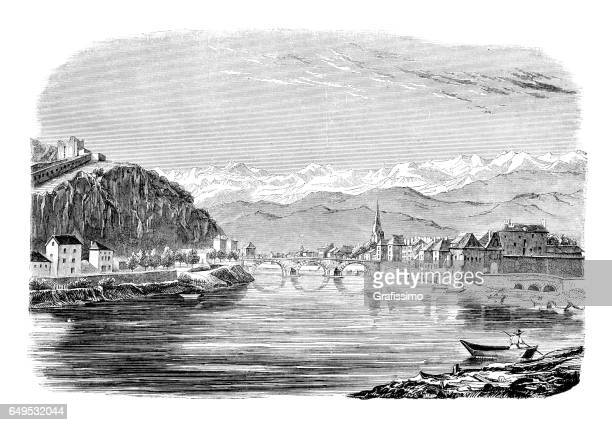 grenoble france view of city 1844 - auvergne rhône alpes stock illustrations, clip art, cartoons, & icons