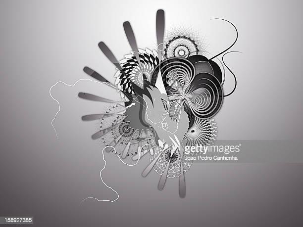 stockillustraties, clipart, cartoons en iconen met a grey abstract digital illustration - pedo