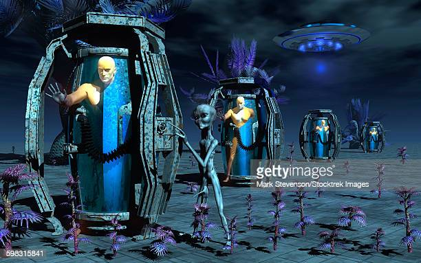 grey aliens awaking humanoid clones in bio-transport containers. - genetic modification stock illustrations
