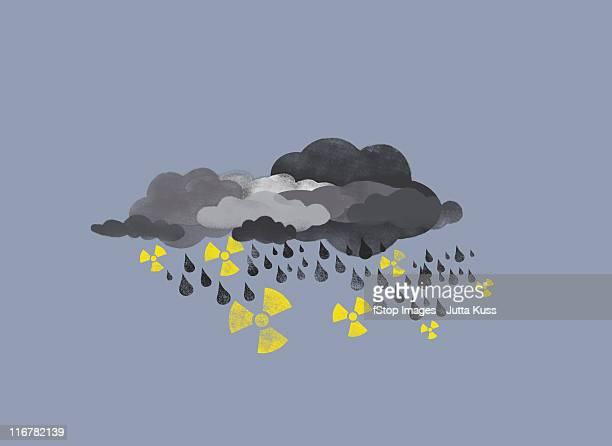 grey clouds raining drops of water and radioactive symbols - rain stock illustrations