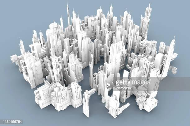 illustrazioni stock, clip art, cartoni animati e icone di tendenza di grey skyscrapers forming an uniform city, 3d rendering - città intelligente