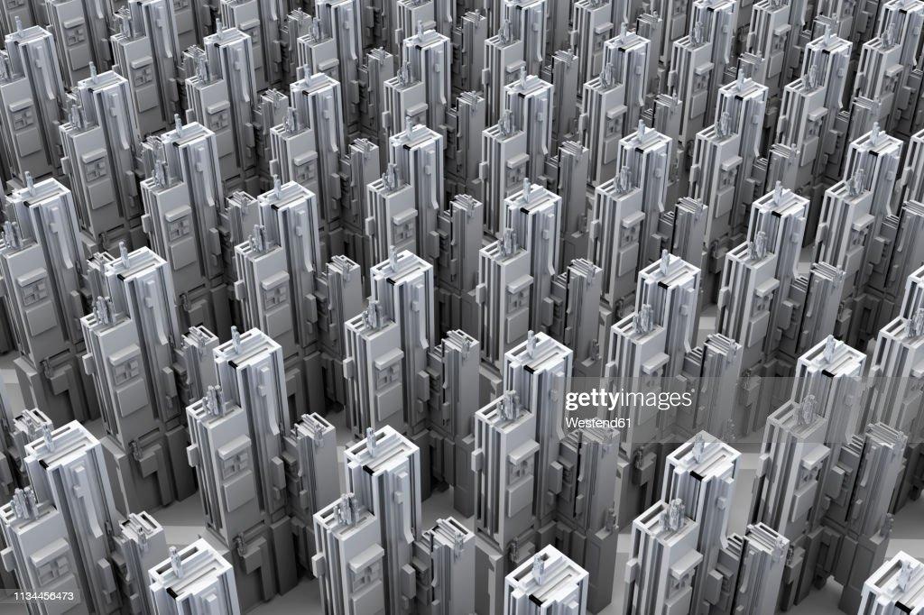 Grey skyscrapers forming an uniform city, 3D Rendering : stock illustration