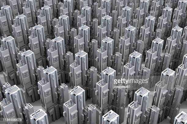 Grey skyscrapers forming an uniform city, 3D Rendering