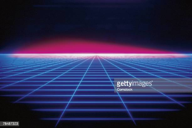 Grid continuing into glowing horizon