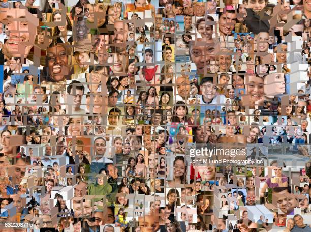 grid in montage of faces - grid pattern stock illustrations