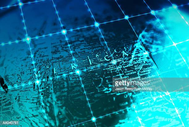 grid on map of usa, close-up (digital composite) - latitude stock illustrations