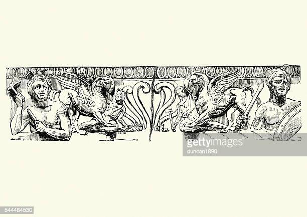 griffin and ancient warriors - bas relief stock illustrations