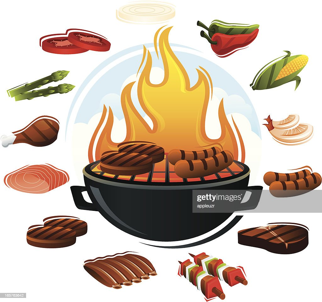 Grill with Food Types : stock illustration