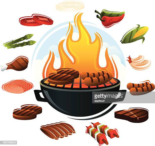 grill with food types - hamburger stock illustrations, clip art, cartoons, & icons
