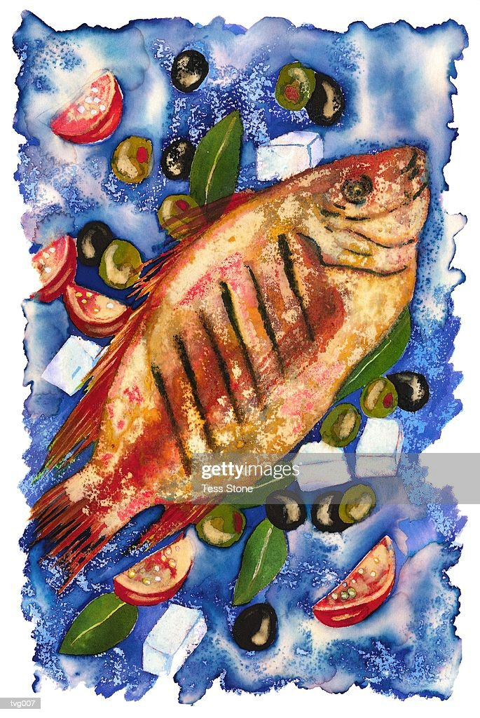 Grilled Fish & Greek Seasonings : Stock Illustration