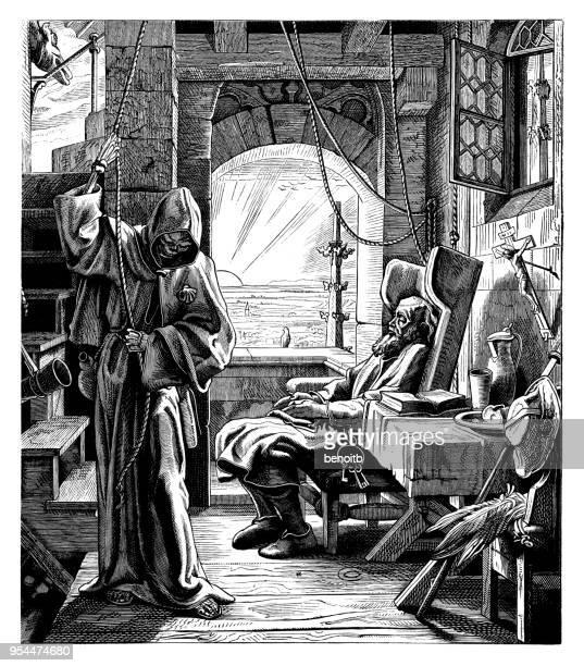 ilustraciones, imágenes clip art, dibujos animados e iconos de stock de parca para hombre - la muerte