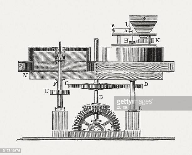 Grinding mill, wood engraving, published in 1880