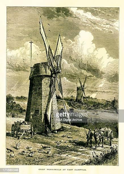 grist windmill in east hampton, new york   historic illustrations - village stock illustrations