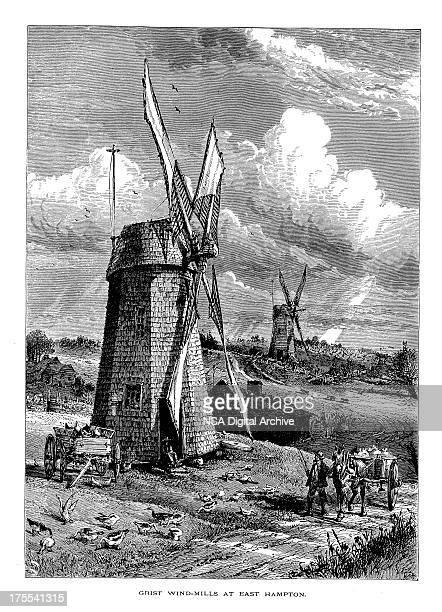 Grist Windmill in East Hampton, New York | Historic Illustrations