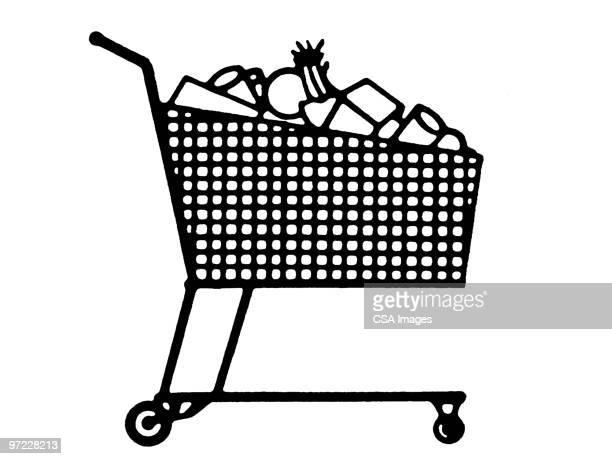 ilustrações de stock, clip art, desenhos animados e ícones de grocery cart - carrinhodecompras