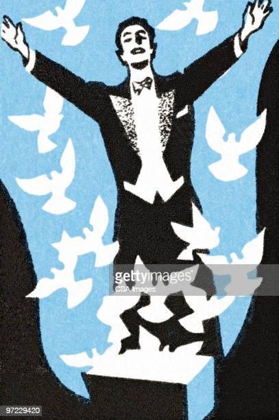 groom releasing doves - タキシード点のイラスト素材/クリップアート素材/マンガ素材/アイコン素材