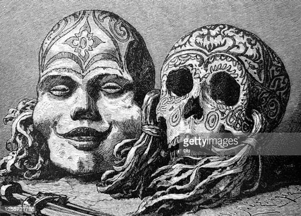 ilustrações de stock, clip art, desenhos animados e ícones de groomed heads of headhunters, tribe of the dajaks - canibalismo