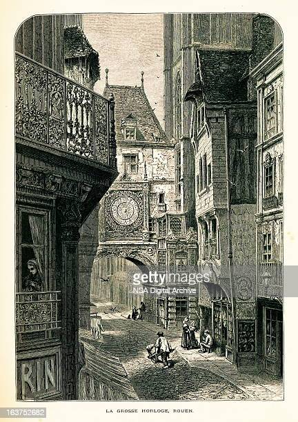 gros horloge, rouen, france i antique european illustrations - normandy stock illustrations