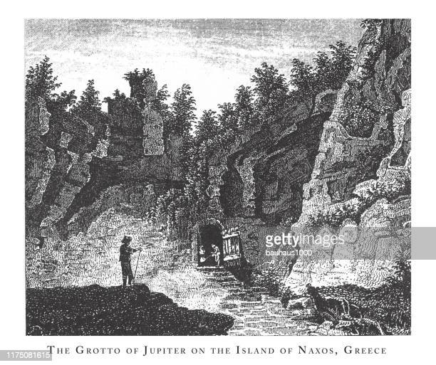 grotto of jupiter on the island of naxos, greece, forests, lakes, caves and unusual rock formation engraving antique illustration, published 1851 - basalt stock illustrations, clip art, cartoons, & icons