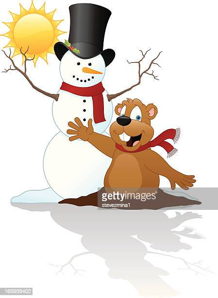 groundhog with snowman - groundhog day stock illustrations