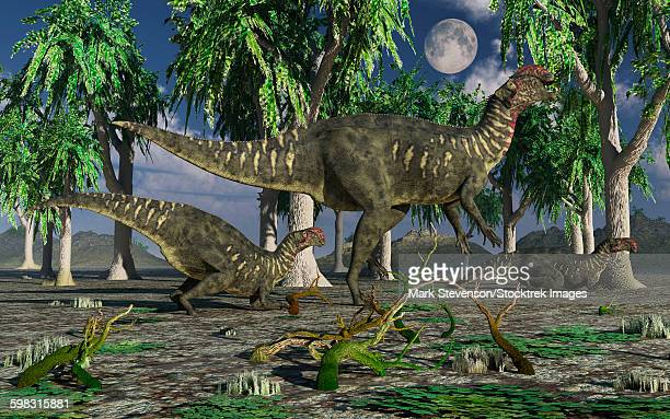 A group of Altirhinus dinosaurs during the Cretaceous period of modern day Asia.