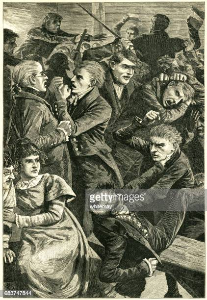 group of brawling 19th century american men at a meeting - naughty america stock illustrations, clip art, cartoons, & icons