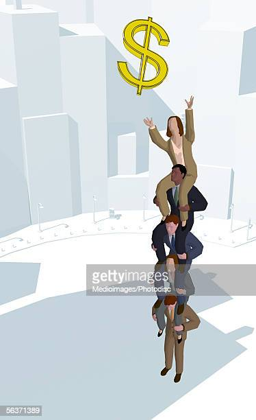 group of business executives sitting on top of the other reaching out for a dollar symbol - piggyback stock illustrations, clip art, cartoons, & icons